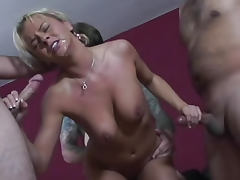 Bree Olson blowbang with many cumshots