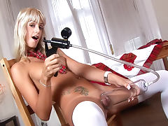Erica Fontes solo schoolgirl pussy play
