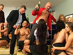 Elegant party with champagne becomes orgy