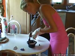 Sophie Moone Doing her mother's hair in the kitchen