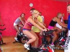 European Porn Stars Warm Up In The Gym Riding Bikes Before Focusing Their Lust