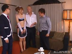 Sexy Asian maid Marina Isshiki gets two hard dicks
