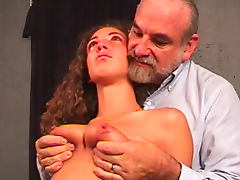 Sweet naked babe being humiliated by an old fart