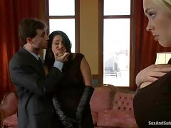 James Deen enjoys fucking two sexy chicks in a hot BDSM scene