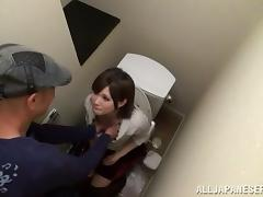Delightful Japanese girl sucks a cock in a toilet cabin
