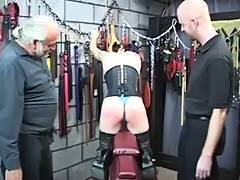 Hawt S M goth hottie receives gazoo spanked with spiked paddle untill bloody by 2 chaps