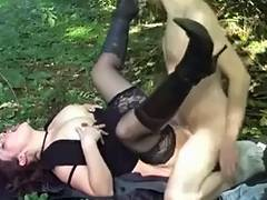 German mother I'd like to fuck Screwed in Garden by Youthful fellow