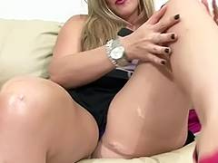 Wicked Mother I'd Like To Fuck rubs her love button and plays with her biggest scoops