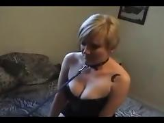 Submissive White girl on Leash owned by BBC.