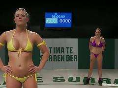 Busty blondes Holly Heart and Rain DeGrey have a catfight on tatami