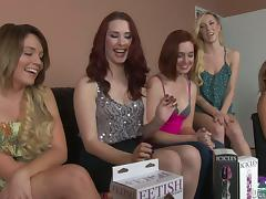 Prearrange of nasty lesbians toy pussies with strap-ons plus dildos