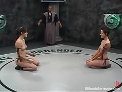 Two slim brunette chicks fuck with a resonate after fighting