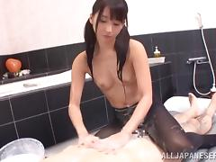 Japanese old bag Yuuki Itano gets her pussy fucked impenetrable depths beside a bathroom
