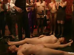 Nasty maids get punished for bad service during a banquet