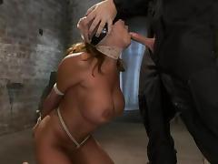 Big breasted Ava Devine gets tied up and face fucked
