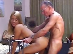 Jenny fuck with muscular grandpa Harvey for cash