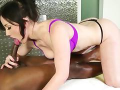 Jennifer White is sucking Jack Blaque's dick