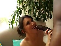 Luscious brunette MILF in fishnets does BBC anal