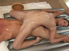 Small-tit babe Amber Rayne is sucking a cock