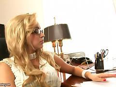 Slutty blonde secretary Aleska Diamond gets fucked by her boss