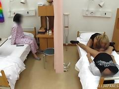 Japanese bitch seduces a man and fucks him in a hospital ward