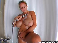 Brandy Talore Gives A Huge Cock A Deepthroat After Shower