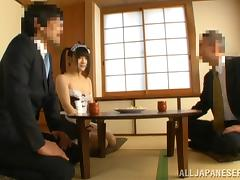 Steamy Japanese Maid Pleases Her Boss Giving Cute Blowjob