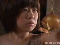 Horny Japanese milf lets her hubby play with her boobs and sucks his dick